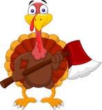 Cartoon turkey holding axe royalty free illustration