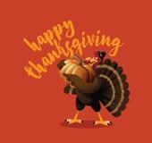 Cartoon turkey holding pumpkin greeting card design Royalty Free Stock Photos
