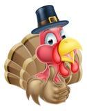 Cartoon Turkey in Pilgrim Hat Royalty Free Stock Image