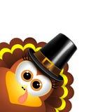 Cartoon turkey in a pilgrim hat Stock Images