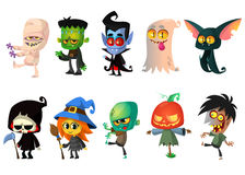 Cartoon Halloween monsters set. Vectot