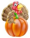 Cartoon Turkey and Pumpkin Royalty Free Stock Photos