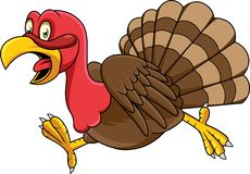 Cartoon turkey running royalty free illustration