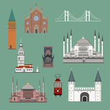 Cartoon Turkey symbols and objects set. Saint Sophie Cathedral, Maiden`s Tower, palace of Topapa, Galata Tower, bridge of Bosporus, Republic Monument, Saint Royalty Free Stock Image