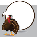 Cartoon turkey telling a secret with blank speech bubble Stock Images