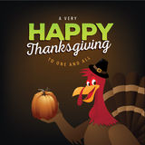 Cartoon Turkey Thanksgiving greeting design Stock Photos