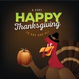 Cartoon Turkey Thanksgiving greeting design royalty free illustration