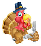 Cartoon Turkey in Thanksgiving Pilgrims Hat Holding Knife and Fo Stock Photography