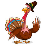 Cartoon turkey waving in pilgrim hat. Vector, grouped for easy editing. No open shapes or paths Stock Photography