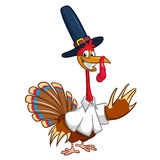 Cartoon turkey waving. Thanksgiving vector illustration isolated on white background. Royalty Free Stock Images