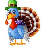 Cartoon turkey wearing green cap Stock Images