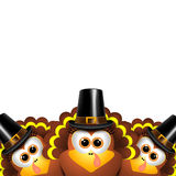 Cartoon turkeys in a pilgrim outfit Royalty Free Stock Images