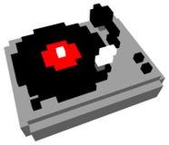 Cartoon turntable. 3D pixel cartoon style DJ turntable isolated on white Royalty Free Stock Photos