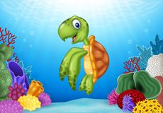 Cartoon turtle with beautiful underwater world. Illustration of Cartoon turtle with beautiful underwater world Royalty Free Stock Image