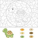 Cartoon turtle. Color by number educational game for kids Stock Photography