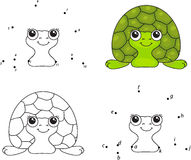 Cartoon turtle. Coloring book and dot to dot game for kids Royalty Free Stock Images