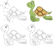 Cartoon turtle. Coloring book and dot to dot game for kids Royalty Free Stock Photos