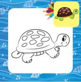 Cartoon turtle. Coloring page stock illustration