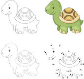 Cartoon turtle. Dot to dot game for kids Royalty Free Stock Photos