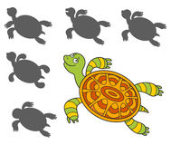 Cartoon turtle. Find the right shadow image. Educational games for kids.cartoon turtler Stock Image