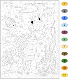 Cartoon turtle and fish in the ocean. Color by number educationa. L game for kids. Illustration for schoolchild and preschool Stock Image