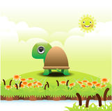 Cartoon turtle on green grass Stock Images