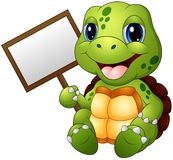 Cartoon turtle holding blank sign. Illustration of Cartoon turtle holding blank sign Stock Photography