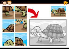 Cartoon turtle jigsaw puzzle game. Cartoon Illustration of Education Jigsaw Puzzle Game for Preschool Children with Funny Turtle Animal Stock Photos