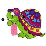 Cartoon turtle knitting. animal illustration Stock Photography