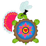 Cartoon turtle lady with heart symbol. image Royalty Free Stock Photo