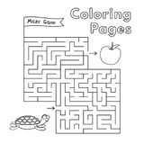 Cartoon Turtle Maze Game. Vector coloring book pages for children vector illustration