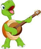 Cartoon turtle playing guitar Stock Images