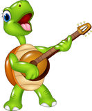 Cartoon turtle playing a guitar Royalty Free Stock Photography