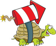Cartoon turtle with a rocket. Royalty Free Stock Photography