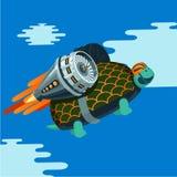Cartoon turtle with rocket turbine. Humor illustration stock illustration