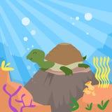 Cartoon Turtle Underwater Deep Ocean Bottom Coral. Reef Colorful Flat Retro Vector Illustration Stock Photo
