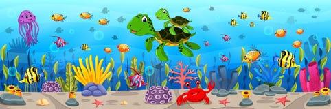 Cartoon turtle underwater. Illustration of Cartoon turtle underwater Stock Photo