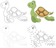 Cartoon turtle. Vector illustration. Dot to dot game for kids Royalty Free Stock Image