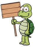 Cartoon turtle. Vector illustration of Cartoon turtle holding wood sign Royalty Free Stock Images