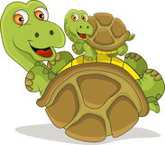 Cartoon turtle was playing with his son. Vector illustration of cartoon turtle was playing with his son Royalty Free Stock Photography