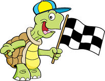 Cartoon turtle waving a flag. Royalty Free Stock Image