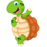 Cartoon turtle waving hand, isolated on white Stock Photography