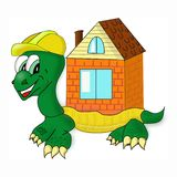Cartoon turtle on white with big house vector illustration