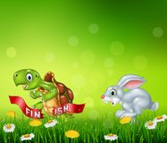 Cartoon a turtle win the race against a bunny Stock Photo