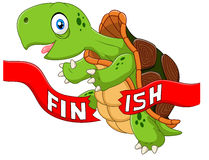 Cartoon turtle wins by crossing the finish line Stock Image