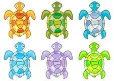 Cartoon turtles. Set of cartoon turtles on white background. Vector stock illustration