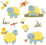 Cartoon turtles with insects set. Collection with cartoon turtles, butterfly and dragonfly. Nature vector set with reptiles and insects Royalty Free Stock Photography