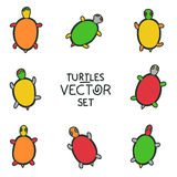 Cartoon turtles set - vector animal collection Stock Images