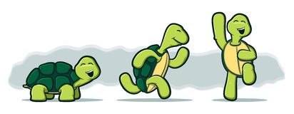 Cartoon Turtles on White Background Royalty Free Stock Photos