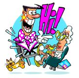 Cartoon TV character. Cartoon caricature of TV personality popping our of living room television Stock Photo